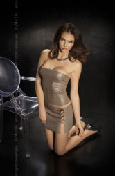 'Passion Lingerie' Nessa GREY Faux Leather Bustier Top & Mini Skirt ( UK 8 -20 )